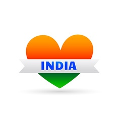 love india symbol with heart and ribbon vector image