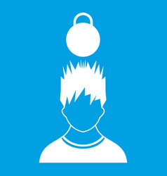 Man with the weight over head icon white vector