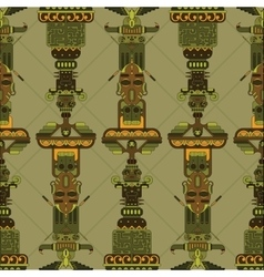 Totem poles seamless pattern vector