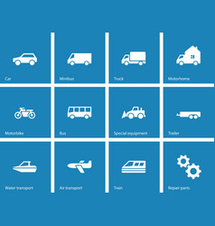 Cars and Transport icons on blue background vector image vector image