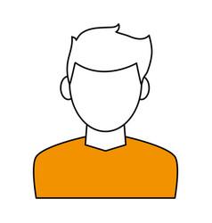 color contour cartoon faceless half body man with vector image