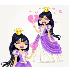 Crying gothic princess with a broken heart vector image vector image