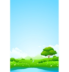 Green landscape with lake vector image vector image