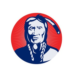 native american indian chief facing front vector image vector image