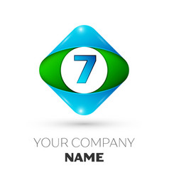 Realistic number seven in colorful rhombus vector