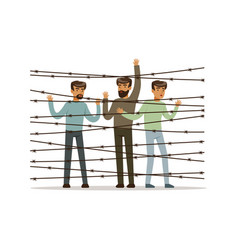 stateless refugees facing the barbed wire fence vector image
