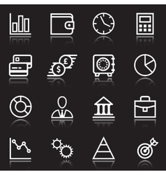 white business icons on black vector image vector image