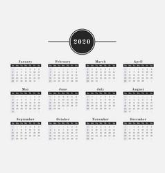 2020 year calendar horizontal design vector