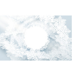 3d paper art with christmas round snowflakes vector image