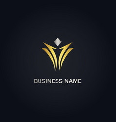 Abstract victory design gold logo vector
