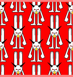 Angry hare pattern seamless crazy rabbit vector