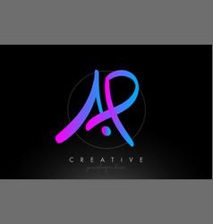 Ap artistic brush letter logo handwritten vector