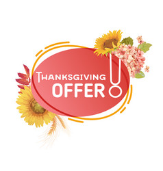 autumn sale promo badge thanksgiving offer banner vector image