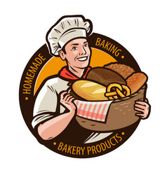 Bakery bakeshop logo or label home baking bread vector