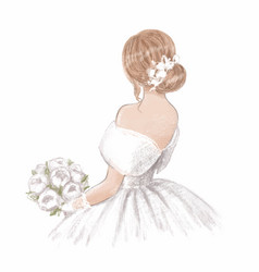 beautiful bride with a bouquet peonies hand vector image