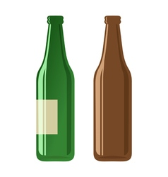 Beer bottles on a white background vector