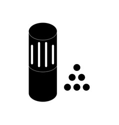 Black icon on white background shotgun bullet vector
