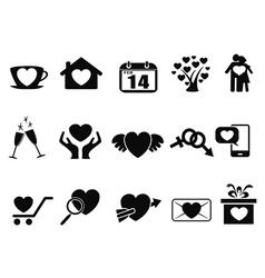 black Love valentine day icons set vector image