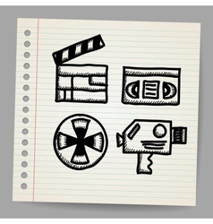 black movie icon doodle set vector image