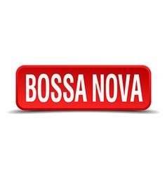 bossa nova red three-dimensional square button vector image
