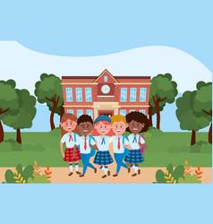 Boys and girls kids school design vector