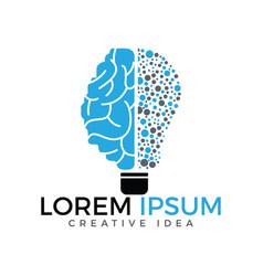 bulb and brain logo design vector image