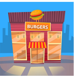 burger eatery in city fast food exterior building vector image