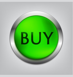 buy green button realistic vector image