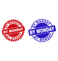 By monday rounded and rosette stamps with vector