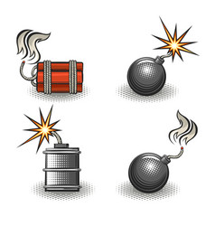 Cartoon explosive bomb retro emblem set vector