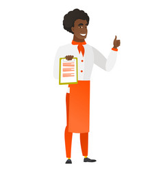 chef cook with clipboard giving thumb up vector image