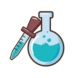 chemical flask and dropper vector image