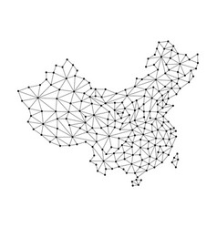 china map of polygonal mosaic lines network rays vector image