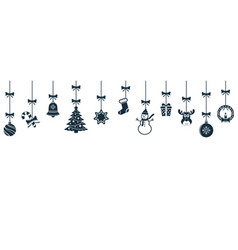 Christmas hanging ornaments background vector