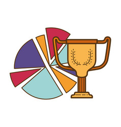 Circle graph with trophy isolated icon vector