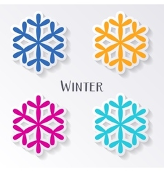 Colorful snowflake labels vector