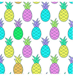 colorful tasty pineapple pattern in pop-art style vector image