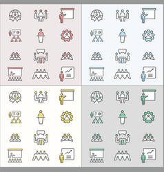 conference flat line icons for graphic and web vector image