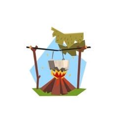 Cooking Pot On Campfire vector