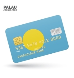 Credit card with Palau flag background for bank vector image