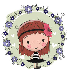 Cute cartoon girl and flowers vector