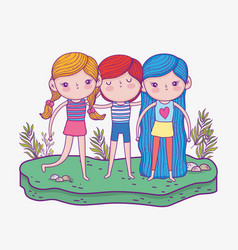 Cute girls and boy with hairstyle and plants vector