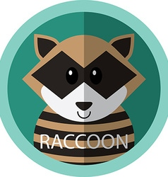 Cute racoon cartoon flat icon avatar round circle vector