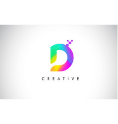 D colorful logo letter design creative rainbow vector