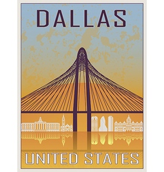 Dallas vintage poster vector