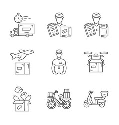 delivery linear icons set plane drone express vector image
