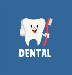 dental tooth thumb up mascot character logo icon vector image