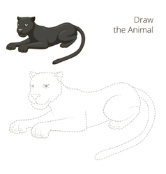 Draw the animal panther educational game vector