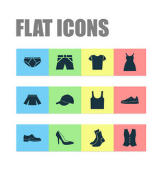 Dress icons set collection of sneakers trunks vector