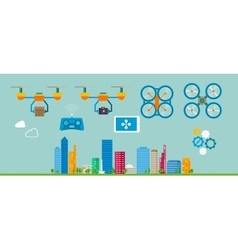 drone delivery flat icon vector image
